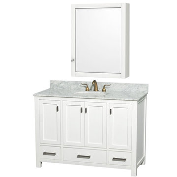 Wyndham Abingdon 48 Inch White Vanity With Carrera Marble And Medicine Cabinet