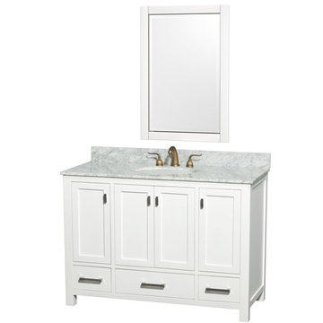 Wyndham Abingdon 48 Inch White Vanity With Carrera Marble And Mirror
