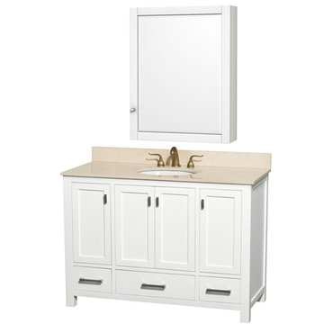 Wyndham Abingdon 48 Inch White Vanity With Ivory Marble And Medicine Cabinet