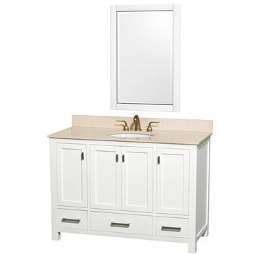 Wyndham Abingdon 48 Inch White Vanity With Ivory Marble And Mirror