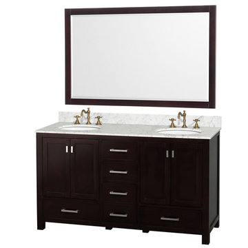 Wyndham Abingdon 60 Inch Double White Vanity With Carrera Marble And Large Mirror