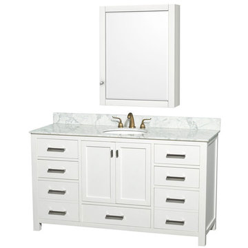 Wyndham Abingdon 60 Inch Double White Vanity With Carrera Marble And Medicine Cabinet