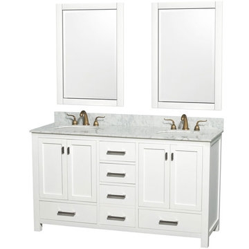 Wyndham Abingdon 60 Inch Double White Vanity With Carrera Marble And Two Mirrors