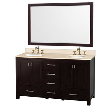 Wyndham Abingdon 60 Inch Double White Vanity With Ivory Marble And Large Mirror