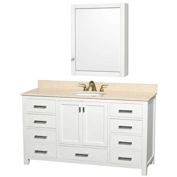 Wyndham Abingdon 60 Inch Double White Vanity With Ivory Marble And Medicine Cabinet