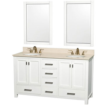 Wyndham Abingdon 60 Inch Double White Vanity With Ivory Marble And Two Mirrors