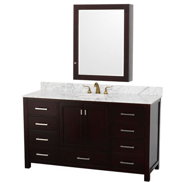 Wyndham Abingdon 60 Inch Espresso Vanity With Carrera Marble And Medicine Cabinet