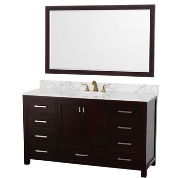 Wyndham Abingdon 60 Inch Espresso Vanity With Carrera Marble And Mirror