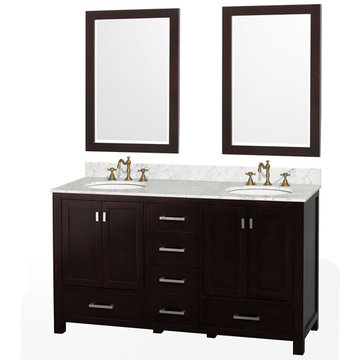 Wyndham Abingdon 60 Inch Espresso Vanity With Carrera Marble And Two Mirrors