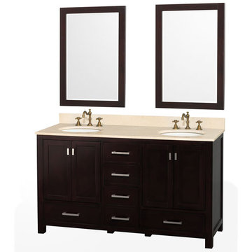 Wyndham Abingdon 60 Inch Espresso Vanity With Ivory Marble With Two Mirrors