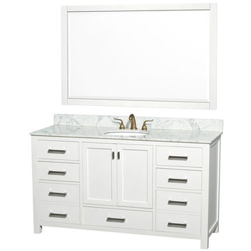 Wyndham Abingdon 60 Inch Single White Vanity With Carrera Marble And Mirror