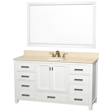 Wyndham Abingdon 60 Inch Single White Vanity With Ivory Marble And Mirror