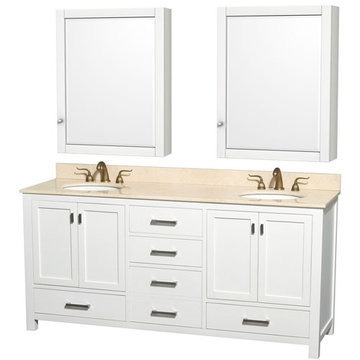 Wyndham Abingdon 72 Inch Double White Vanity With Ivory Marble And Medicine Cabinet