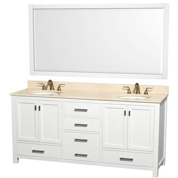 Wyndham Abingdon 72 Inch Double White Vanity With Ivory Marble And Mirrors