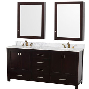Wyndham Abingdon 72 Inch Espresso Vanity With Carrera Marble And Medicine Cabinet