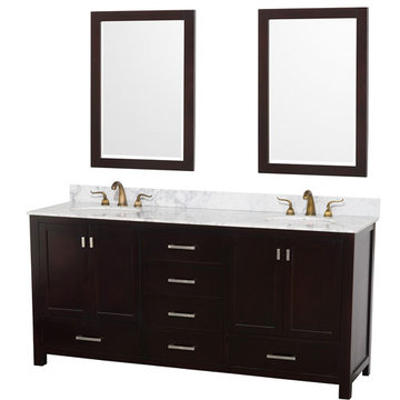 Wyndham Abingdon 72 Inch Espresso Vanity With Carrera Marble And Mirrors