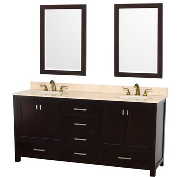 Wyndham Abingdon 72 Inch Espresso Vanity With Ivory Marble And Mirrors
