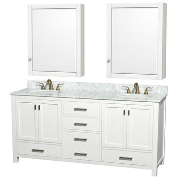 Wyndham Abingdon 72 Inch White Vanity With Carrera Marble And Medicine Cabinet