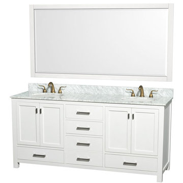 Wyndham Abingdon 72 Inch White Vanity With Carrera Marble And Mirrors