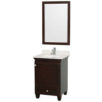 Wyndham Acclaim 24 Inch Espresso Vanity With Carrera Marble And Mirror