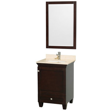Wyndham Acclaim 24 Inch Espresso Vanity With Ivory Marble And Mirror