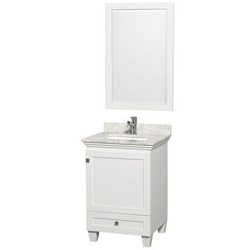 Wyndham Acclaim 24 Inch White Vanity With Carrera Marble And Mirror