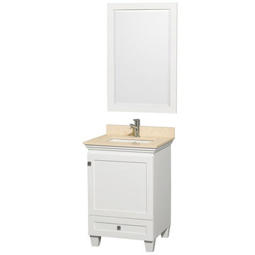 Wyndham Acclaim 24 Inch White Vanity With Ivory Marble And Mirror