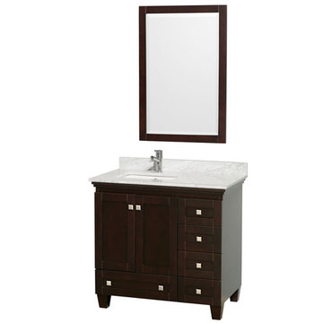 Wyndham Acclaim 36 Inch Espresso Vanity With Carrera Marble And Mirror