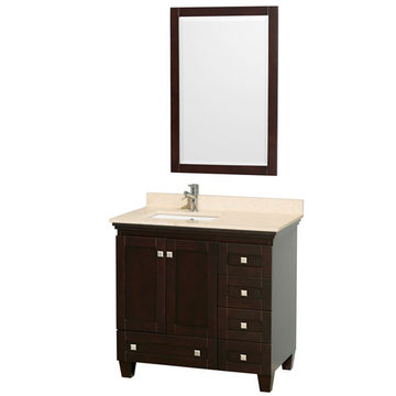 Wyndham Acclaim 36 Inch Espresso Vanity With Ivory Marble And Mirror