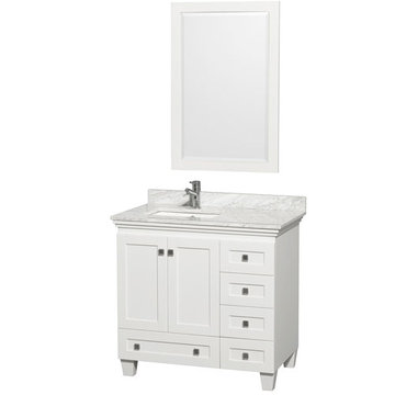 Wyndham Acclaim 36 Inch White Vanity With Carrera Marble And Mirror