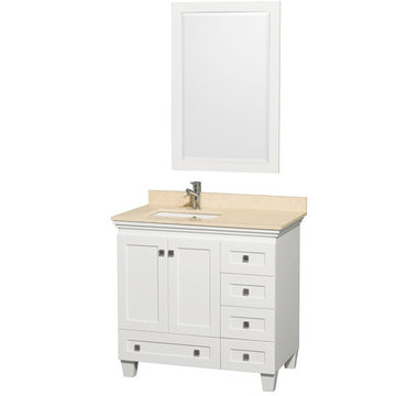 Wyndham Acclaim 36 Inch White Vanity With Ivory Marble And Mirror
