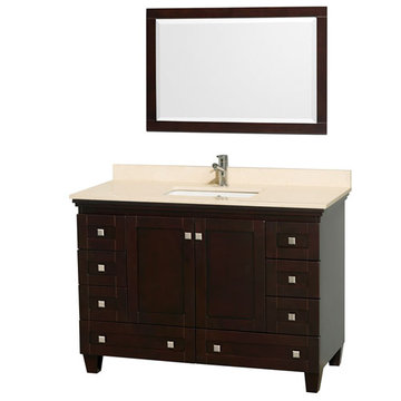 Wyndham Acclaim 48 Inch Espresso Vanity With Ivory Marble And Mirror