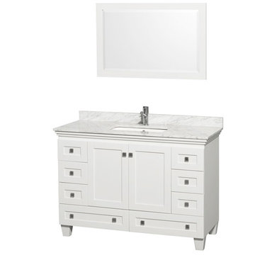 Wyndham Acclaim 48 Inch White Vanity With Carrera Marble And Mirror
