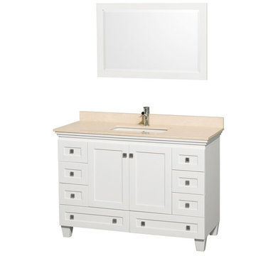 Wyndham Acclaim 48 Inch White Vanity With Ivory Marble And Mirror