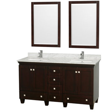 Wyndham Acclaim 60 Inch Double Espresso Vanity With Carrera Marble And Mirrors