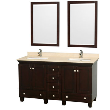 Wyndham Acclaim 60 Inch Double Espresso Vanity With Ivory Marble And Mirrors