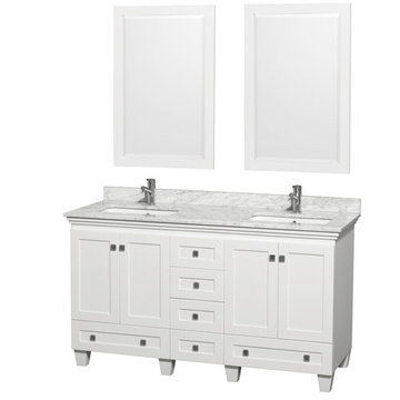 Wyndham Acclaim 60 Inch Double White Vanity With Carrera Marble And Mirrors