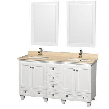 Wyndham Acclaim 60 Inch Double White Vanity With Ivory Marble And Mirrors