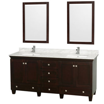 Wyndham Acclaim 72 Inch Double Espresso Vanity With Carrera Marble And Mirrors