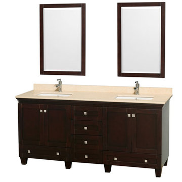 Wyndham Acclaim 72 Inch Double Espresso Vanity With Ivory Marble And Mirrors