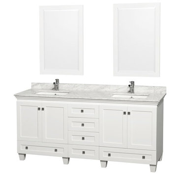 Wyndham Acclaim 72 Inch Double White Vanity With Carrera Marble And Mirrors