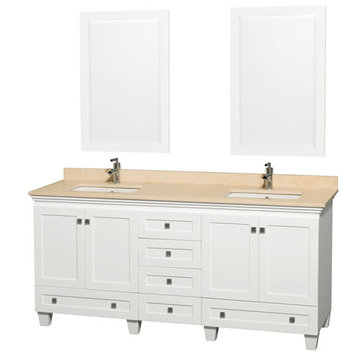 Wyndham Acclaim 72 Inch Double White Vanity With Ivory Marble And Mirrors