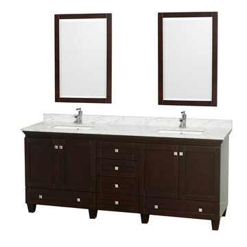 Wyndham Acclaim 80 Inch Double Espresso Vanity With Carrera Marble And Mirrors