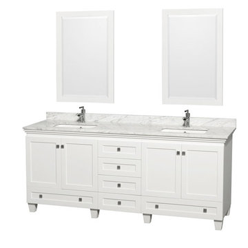 Wyndham Acclaim 80 Inch Double White Vanity With Carrera Marble And Mirrors