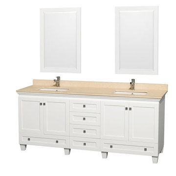 Wyndham Acclaim 80 Inch Double White Vanity With Ivory Marble And Mirrors