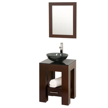 Wyndham Amanda Vanity With Matching Mirror And Smoke Glass And Sink
