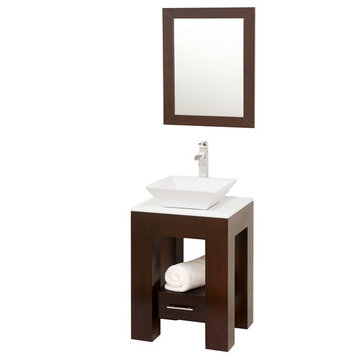 Wyndham Amanda Vanity With Matching Mirror And White And Sink