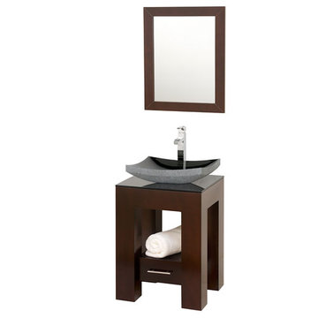 Wyndham Amanda Vanity With Smoke Glass Top, Black Granite Sink And Mirror