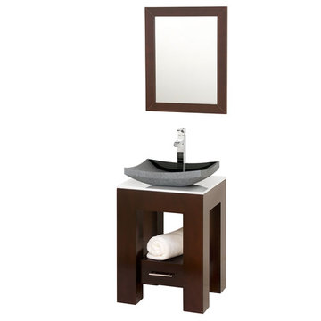 Wyndham Amanda Vanity With White Glass Top, Black Granite Sink And Mirror