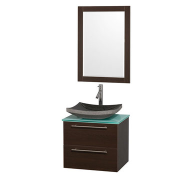 Wyndham Amare Espresso 24 Inch Vanity With Glass Top, Mirror And Black Sink